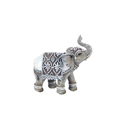 CAPRILO Figura Decorativa de Resina Elefante Indico con Cuernos Adornos y Esculturas....