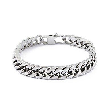 acciaio inossidabile collegamento catena in argento braccialetto , silver-one size , silver-one size
