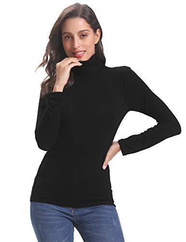 Abollria Damen Dünn Rollkragenpullover Basic Shirt Langarm Leicht Stretch Rolli als Unterhemd -