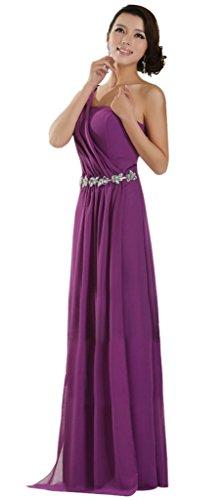 Drasawee Damen One-Shoulder Kleid Violett - Violett