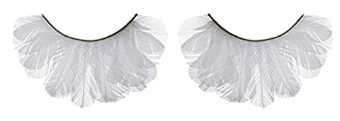 Zinkcolor White Feather False Eyelashes F131 Dance Halloween Cheerleader Costume by Zink Color