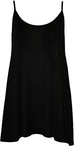 WearAll - Grande taille swing débardeur top à lanières - Hauts - Femmes - Tailles 44 à 50 Noir