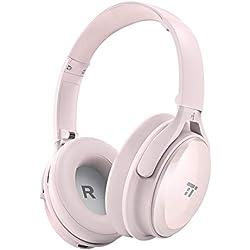 TaoTronics Auriculares Bluetooth Diadema Plegables (Cancelación de Ruido, 25-30 Horas, Micrófono CVC 6.0, Dual 40 mm Drivers con Bajos Potentes, Sonido de Calidad Alta aptX) Cascos Inalámbricos Rosa