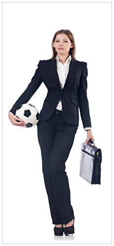 r Fußball Business - Geschäftsfrau mit Ball und Aktentasche - Größe 93 x 205 cm ()