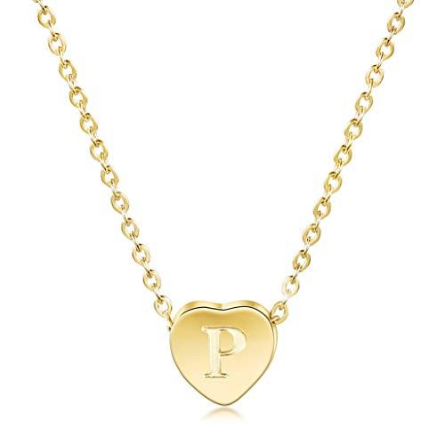 it Herz Anhänger Buchstabe A-Z Alphabet Initiale Kette Halskette | 14 K Gold Überzogen Minimalist Kette mit Herz Charme Edelstahl Geschenk für Frauen Mädchen ()