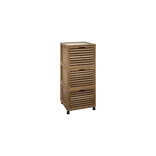 AC-Déco Meuble en Bambou - 3 tiroirs - 41 x 41 x 91 cm
