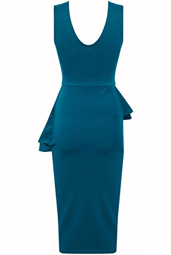 Quasi Fashion donne tunica da bambina senza maniche PLAIN Side Bow Slant Baschina Bodycon Midi Party foglia di tè