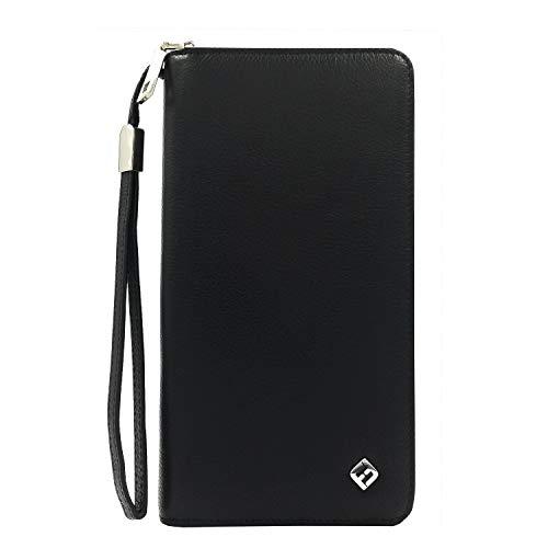 FreeHaveFun® Leder Damen Portemonnaie schwarz, Clutch m. RFID Schutz, Münzfach - Business Geldbörse, Portmonee, Geldbeutel, Brieftasche, Damenbörse, Damengeldbörse, Damenportemonnaie, Damengeldbeutel -