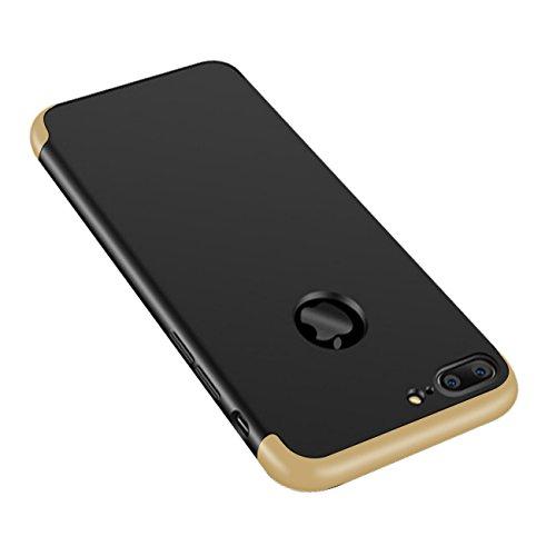 Qissy®3 in 1 Ultra Dünner PC Harte Case 360 Grad Schutzharte iPhone 7 Fall Premium mattierte Schutzhülle (iPhone 7, Schwarz + rot) Gold+Schwarz