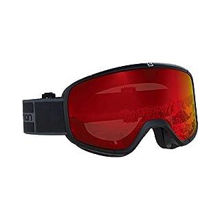 Salomon Unisex Four Seven Skibrille, geeignet für Brillenträger, verschiedenste Wetterverhältnisse, rote Scheibe mit Multilayer-Beschichtung (auswechselbar), Airflow System, schwarz/grau, L40516800