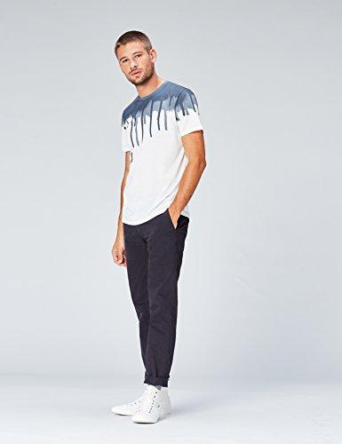 FIND Herren T-Shirt mit Graffiti-Print Blau (White Base/blue Sublimation Print)