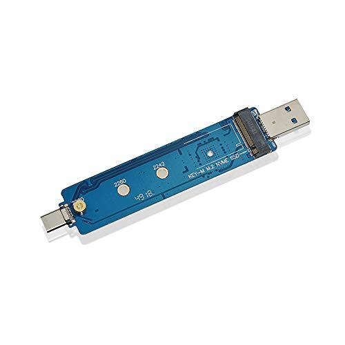 ADWITS USB 3.1 Gen 2 Tipo A e C Combo a M.2 2230/2242/2260/2280 Adattatore PCIe NVMe ad alte prestazioni PCIe, con controller bridge JMS583 Compatibile 960 970 EVO PRO Unità a stato solido