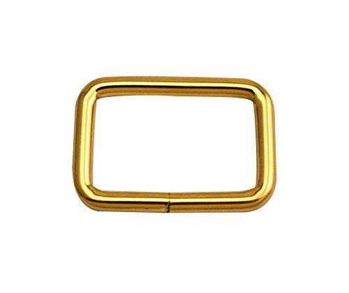 wuuycoky Light Golden Rechteck Ringe Loop Ring keine geschweißt für Gurtband Gürtel Schnalle, Inner length:1.25