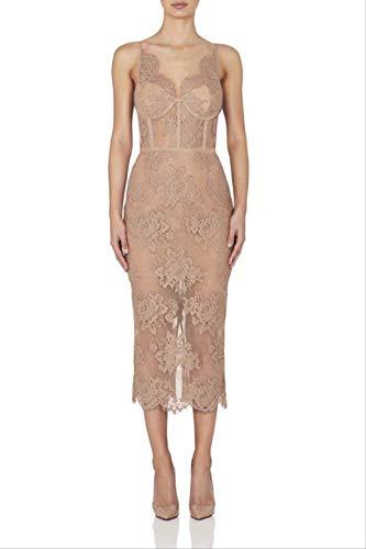 MENSDXA Kleiden Kleid Herbst Und Winter Mode Frauen Sling V-Ausschnitt Spitze Stickerei In Changchun Sommerkleid L Apricot Pink -