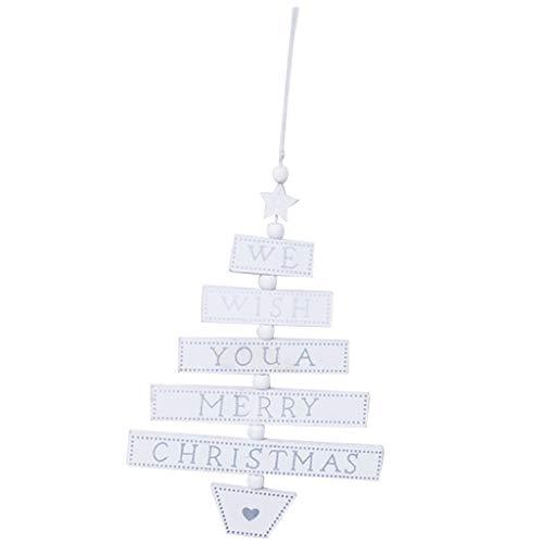 FLAMEER Hölzerne Wandschild Türschild Hängende Schilder Dekoschild mit Frohe Weihnachten Zeichen - Weiß