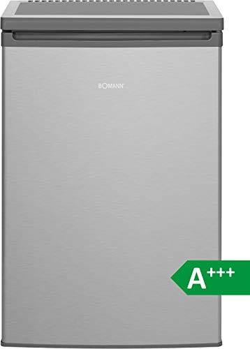 Bomann KS 2198 Kühlschrank/A+++/ 84.8 cm/ 90 kWh/Jahr/ 97 L Kühlteil /12 Gefrierteil/justierbare Standfüße/Edelstahl-Optik
