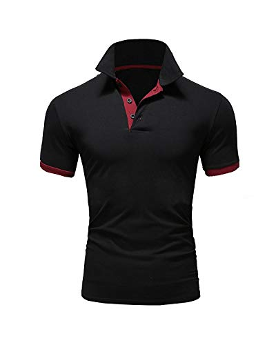 Ehpow Herren Poloshirt Basic Kurzarm Polohemd T-Shirt (Medium, Schwarz) -