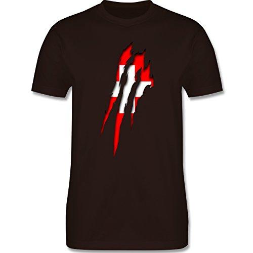 Länder - Schweiz Krallenspuren - Herren Premium T-Shirt Braun