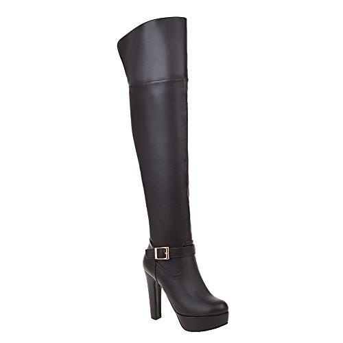 Mee Shoes Damen Reißverschluss langschaft Plateau high heels Stiefel Braun