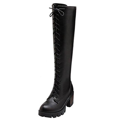 5f3ad7d147 UH Damen Schnür Overknee Stiefel Blockabsatz Plateau Ankle Boots mit Fell  Warm Herbst Winter Schuhe