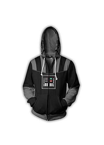 Star Wars 9 Jacke,Star Wars Hoodie Jungen Pullover 3D Strickjacke Hoodie Cosplay Anime,Black,L
