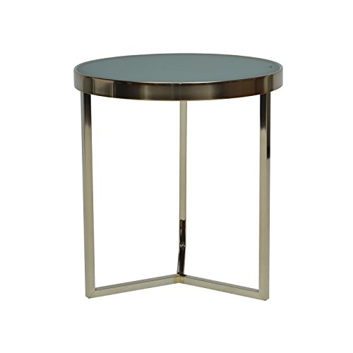 MORE DESIGN Table Basse, Verre, Miroir Bronze, 42,5 x 42,5 x 64 cm