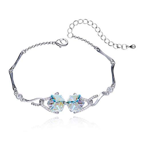 H.l ms. sugar cube bracciale con swarovski elements gioielli regalo di compleanno per lei