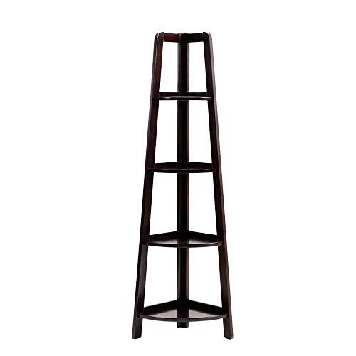 JCNFA Ladder Shelf Wand Bücherregal Speicherleiter Multifunktionales Eckregal Artistic Book Organizer (4-Fach) , 3 Farben (Farbe : Black Walnut, größe : 13.77 * 13.77 * 59.05in) -