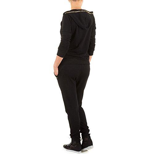 Damen Anzug, 2 TEILER BOYFRIEND JOGGING FREIZEIT ANZUG, KL-WJ-5809 Schwarz