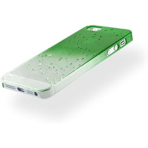 MC24®-Custodia con gocce di pioggia, vari modelli di Smartphone in policarbonato effetto gocce d'acqua, plastica,  - Verde, Iphone 5/5s
