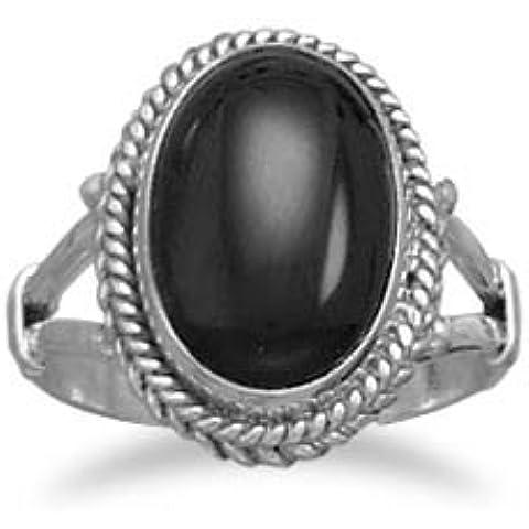 Ovale, in argento Sterling, con bordo in corda, colore: nero Onyx-Anello a fascia, spessore 3 mm, con 14 x 10,5 mm, colore: nero Onyx, misura L