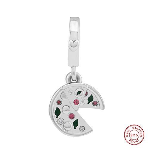 MOCCI 2018 Vor Herbst Leidenschaft für Pizza baumeln grüne Emaille Red Crystal Bead DIY Passt für Original Pandora Armbänder Charm Modeschmuck