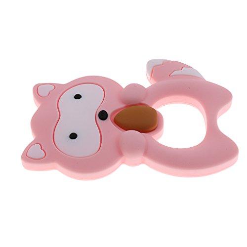 Sharplace Sicherheits Silikon Baby Beißring Schnuller Waschbär Kleinkind Zahnpflege Säugling Greifen Spielzeug Teether Spielzeug - Rosa