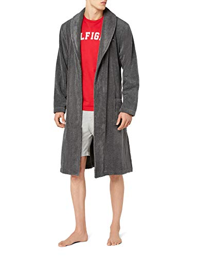 Tommy Hilfiger Herren Bademantel Icon bathrobe, Gr. Large, Grau (MAGNET 884)