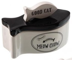 good-cat-ceramic-fish-shaped-pet-food-storage-jar-cannister-meow-chow-by-hing