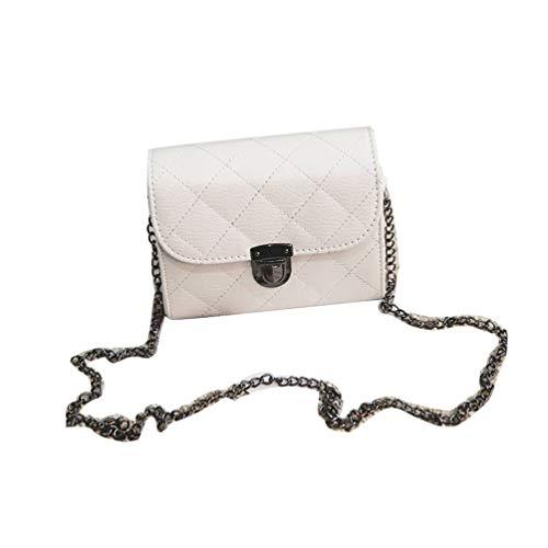 Wenwenzui Embroidery Thread Lock Chain Lock Single Shoulder Diagonal Mobile Phone Bag White