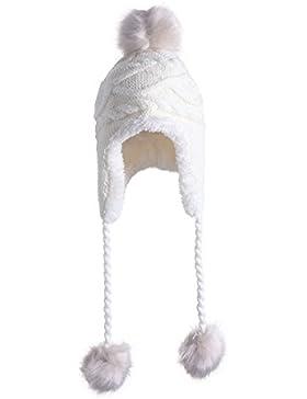Tinksky Lindo invierno caliente Knit lana Hat doble bola oreja Flap con Pom Navidad regalo de cumpleaños para...