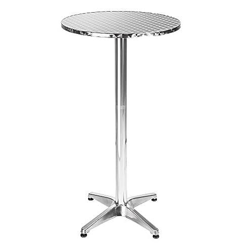 TecTake Table haute de bar aluminium hauteur réglable 70 ou 110 cm Ø 60cm - Tube central Ø : 5,8 cm - 7,6 kg
