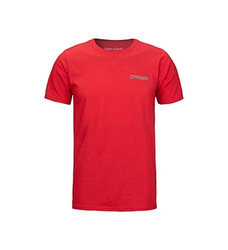 Spyder Mountain T-Shirt, kurzärmelig, Bio-Baumwolle, Herren, Mountain Stripe Organic Cotton Short Sleeve T-Shirt, Organize Cherry/Organic Cherry, Large -