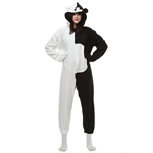 MissFox Erwachsene Pyjama Tieroutfit Tierkostüme Schlafanzug Tier Sleepsuit mit Kapuze Fleece Overall Festival Cosplay Kostüm - Schwarz weiß Bär, M/L