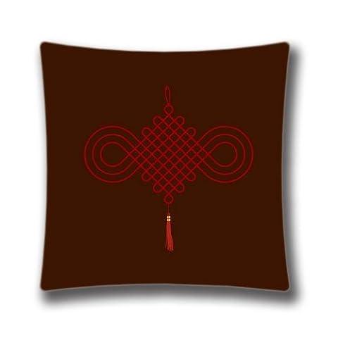 Zipper Design Chinese Tie Throw Pillowcase, 18x18 inches Pillow Sham (Twin sides) AnasaC31675