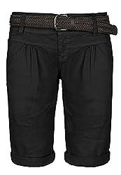 Fresh Made Basic Bermuda-Shorts im Chino Stil mit Gürtel Black L