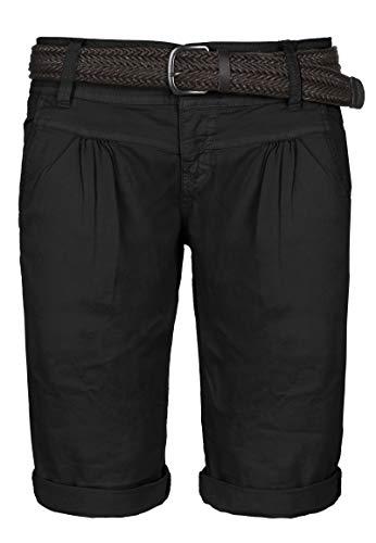 Fresh Made Sommer-Hose Bermuda-Shorts für Frauen | Kurze Chino-Hose mit Flecht-Gürtel | Basic Shorts aus Baum-Wolle Black S