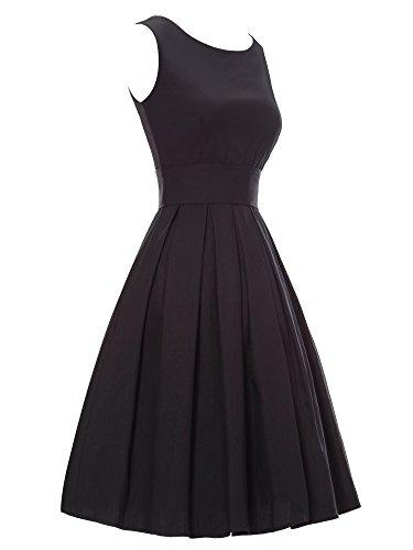 iLover 40s 50s 60s Rockabilly Solid Dress Vintage Pin-up Cocktail Soirée Balançoire Noir