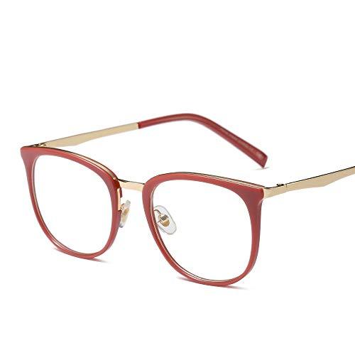Duhongmei123 Mode Brillen Ultralight Vintage Runde Brillengestell, Klassische Fashion Party Fake Brillen Occhiali (Farbe : Rose rot)