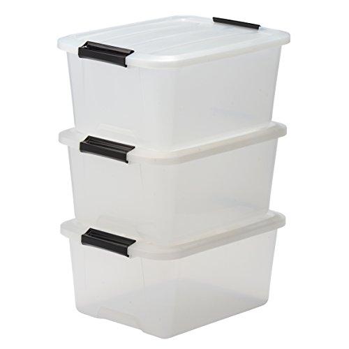 IRIS Storage Box Set of 3 Stackable with Handle 15 Litre Plastic Organiser Storage Box with Lid Clear Transparent 15 litres  sc 1 st  Amazon UK & Plastic Storage Boxes: Amazon.co.uk