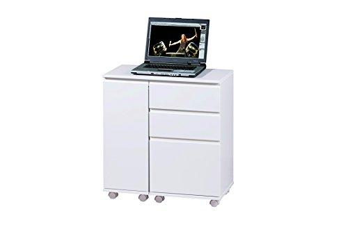 Links 20900400 Tisch Laptop-Tisch aus MDF mit Ausziehfunktion + 3 Schubladen, in weiß lackiert