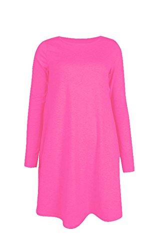 Robe Midi à manches longues Patineuse Swing en jersey évasé Thé Uni Femmes rose vif