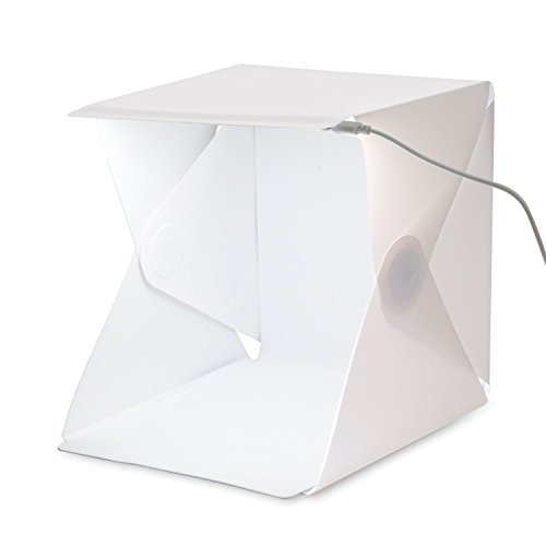 Galleria fotografica Amzdeal Kit Tenda Studio 40 x 40 cm Scatola Fotografica con Striscia LED 6000 - 6500K + 2 Panni Sfondi Professionali (Bianco e Nero)