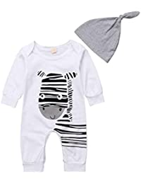 3533cd630f1 Imcute Toddler Baby Boys Girls Zebra Outfit Long Sleeve Bodysuit Romper  with Hat for Everyday Wear